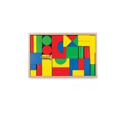 Woodoy-Karsan Ahşap - Woodoy Ahşap Büyük Parça Renkli Bloklar Tepsili 35 Parça