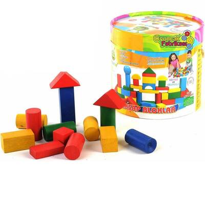 Woodoy Ahşap Oyuncak Bloklar 60 Parça Büyük Kovalı
