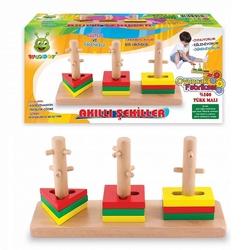 Woodoy - Woodoy Eğitici Ahşap Oyuncak Akıllı Şekiller