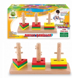 Woodoy-Karsan Ahşap - Woodoy Eğitici Ahşap Oyuncak Akıllı Şekiller