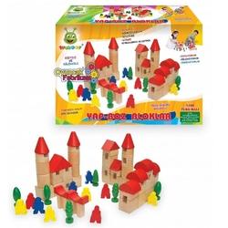 Woodoy-Karsan Ahşap - Woody Eğitici Ahşap Yapboz Bloklar Büyük Boy 64 Parça
