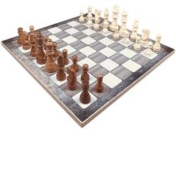 Yenigün Tavla - Yenigün Ahşap Platin Meşe Satranç Takımı 37 cm x 37 cm